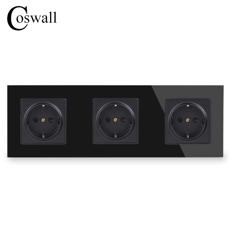 COSWALL Wall Crystal Glass Panel 3 Gang Power Socket Plug Grounded 16A EU Standard Black Electrical Triple Outlet