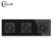 COSWALL duvar kristal cam Panel 3 Gang güç soketi fişi topraklı 16A ab standart siyah elektrik üçlü çıkış
