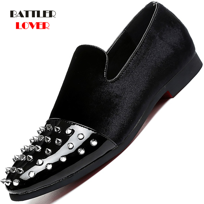 Luxury Brand Glitter Studded Rivet Men Flats 2019 New Trendy Men Casual Shoes High Quality Mens Loafers Moccasin Plus Size 37-48