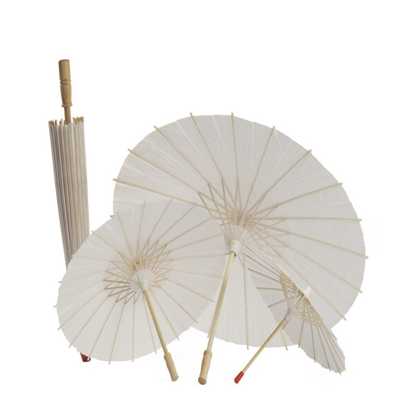 Fashion Sun Umbrella Bridal Umbrella White Handmade Vintage Rice Paper Parasol Mariage  Wedding Umbrella Decorations