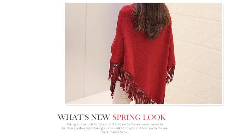 Women Spring Autumn Knitted Sweater Poncho Coat 29