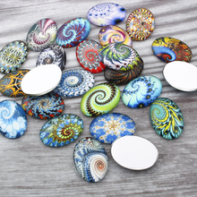 20pcs Mixed Oval Glass Cabochon 18x25mm Fractal Swirl Photo Cameo Jewelry Findings For Earrings Necklace Pendant Jewelry Making