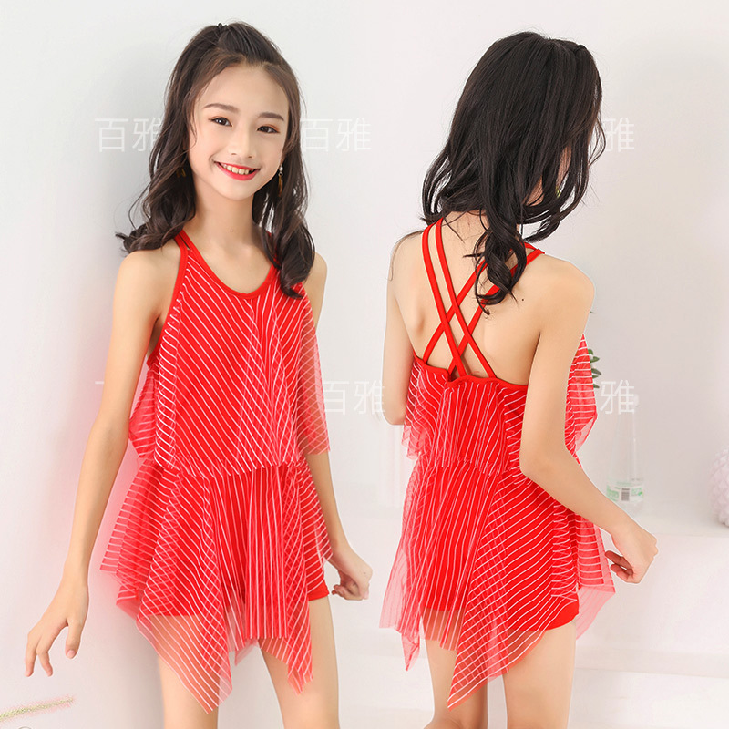 2019 New Style KID'S Swimwear 65-90 Jin Big Kid One-piece Striped Skirt-Beach Swimming Suit NT668071