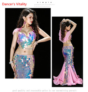 Image 5 - Bellydance Clothes Mermaid Sexy Long Dress Sequin Womens Oriental Belly Dance Costumes for Sale Dancing Outfits Bra+skirt Suit
