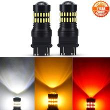 AUXITO 2x T20 7443 W21/5W Car Led Light Bulb Canbus T25 3157 1156 BA15S P21W Led Auto Reversing Lamp For Car 12V White Yellow
