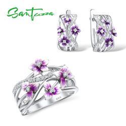 SANTUZZA Silber Schmuck Set für Frauen 925 Sterling Silber Lila Blume Ohrringe Ring Set Trendy Feine Schmuck Handgemachte Emaille