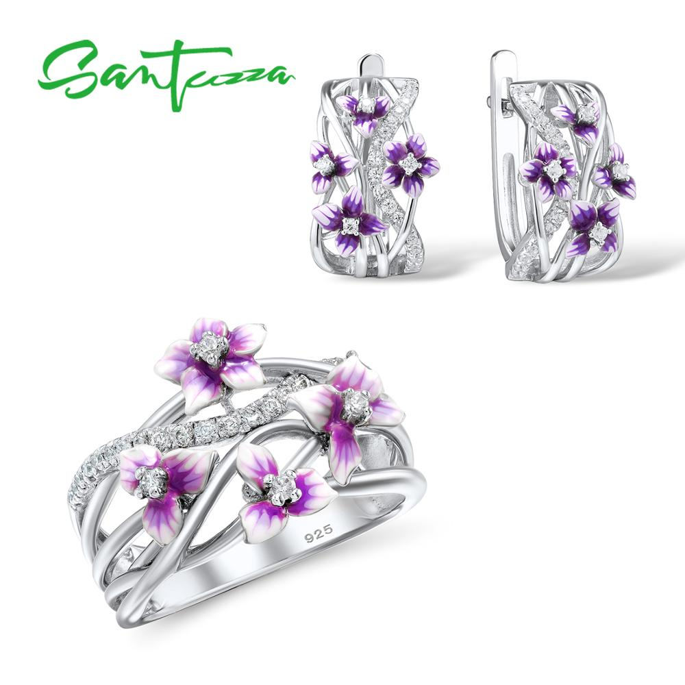 SANTUZZA Silver Jewelry Set For Women 925 Sterling Silver Purple Flower Earrings Ring Set Trendy Fine Jewelry Handmade Enamel