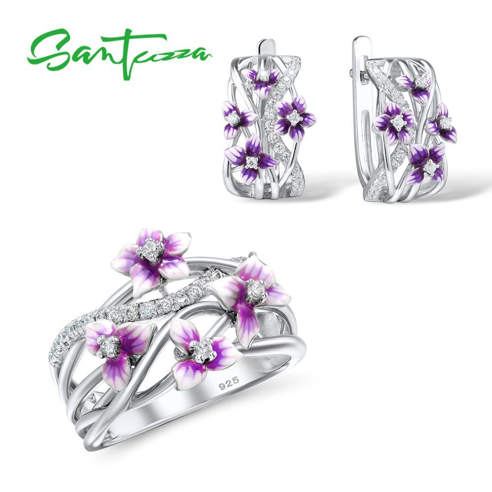 SANTUZZA Silver Jewelry Set For Women 925 Sterling Silver Purple Flower Earrings Ring Set Trendy Fine Jewelry Handmade Enamel