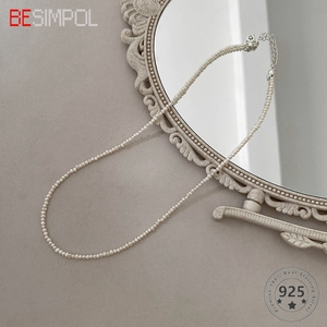 Besimpol French Style Pearl 925 Silver Necklace Elegant Vintage Choker All-match Necklace For Women 2020 Fine Jewelry For Party