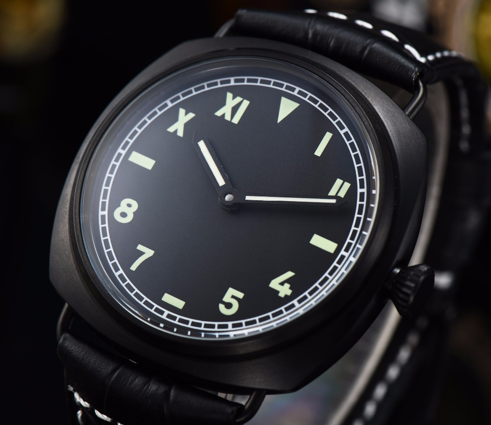 watch men automatic mechanical watch Luminous waterproof stainless steel pvd Leather 47MM MS1