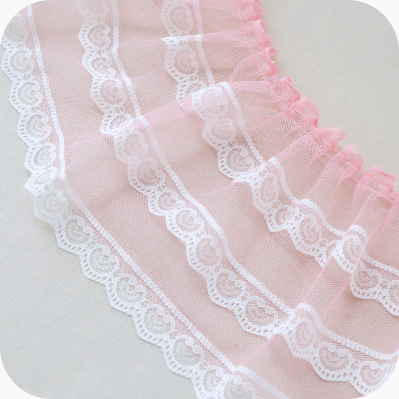 17cm Wide Color Mesh Sewing Stitching White Ribbon Pleated Tulle Lace Collar Fabric Diy Dress Skirt Wedding Decoration Material in Lace from Home Garden