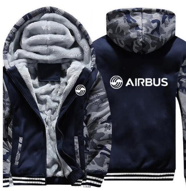 Men's autumn and winter pilot Airbus jacket BOEING AIRPLANE hoodie sports zipper thickening camouflage jacket (can be customized
