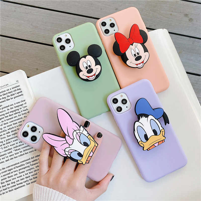 3D Cute Cartoon mouse duck Soft phone case for iphone X XR XS 11 Pro Max 6 7 8 plus Holder cover for samsung S8 S9 S10 A50 Note