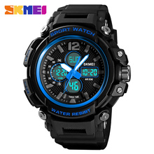 SKMEI Relogio Masculino 1498 Men Double Display Digital Watch Chronograph Clock Sport Watches 5Bar Waterproof Male Wristwatches цена