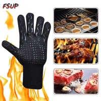 2 pièces FSUP gant de sécurité 500 ° c résistant à la chaleur gant BBQ gant four cuisine gants ignifuges pour four à micro-ondes