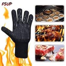 2pcs FSUP safety glove 500�C heat resistant glove BBQ 500�C glove oven kitchen glove