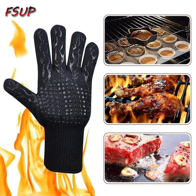 2pcs FSUP Safety Glove 500°C Heat Temperature Resistant Glove BBQ Glove Oven Kitchen Fireproof Gloves For Microwave Oven