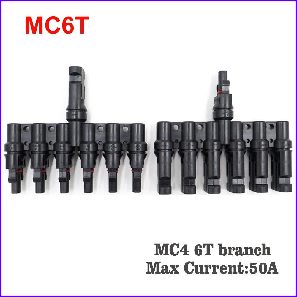 MC4 T, 3T, 4 T, 5T филиал параллельное подключение 30A 50A 1000V Электрический Солнечный MC4 разъем фотоэлектрических Панель кабель провод подключения - Цвет: Золотой
