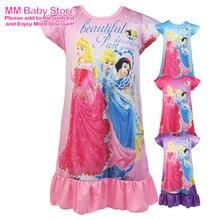 Hot Sale New Disney Princess Nightdress Kids Girls Summer Cartoon Print Short Sleeve Nightgown Children's Casual Sleepwear Robe
