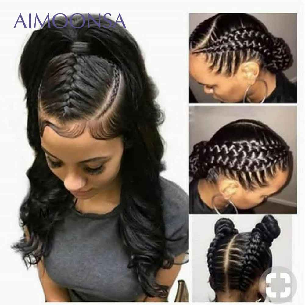 Pleine dentelle transparente perruques perruques de cheveux humains avec bébé cheveux corps vague perruque cheveux naturels pour les femmes noir péruvien Remy cheveux Aimoonsa