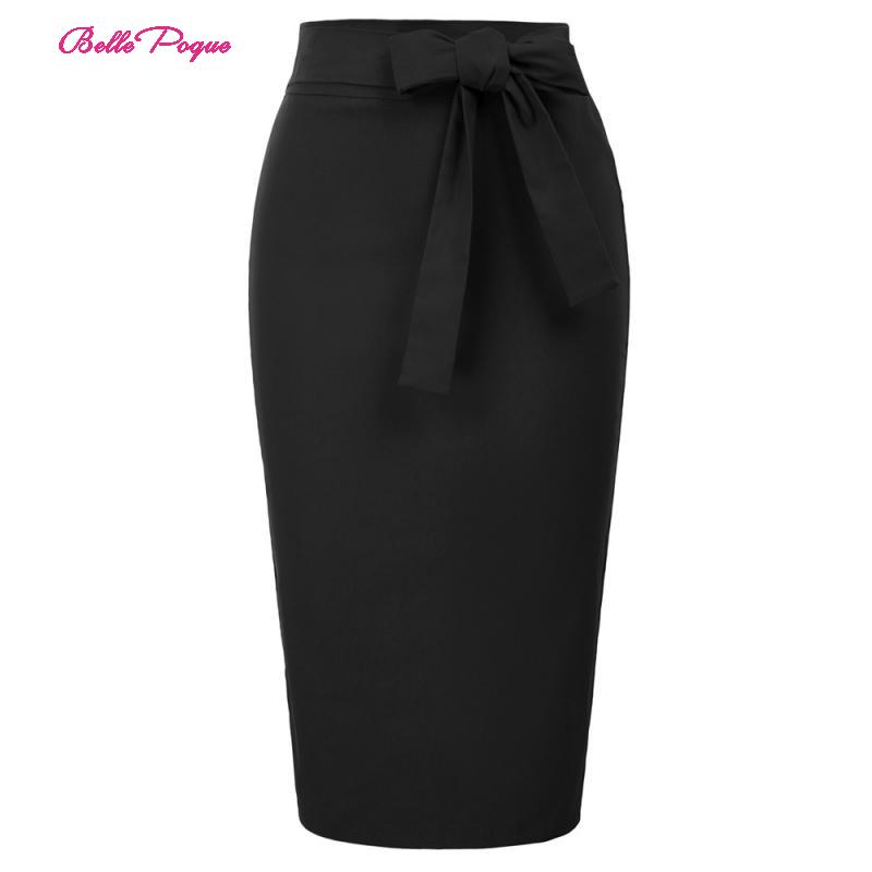 Belle Poque Women Formal Skirt Office Clothes With Belt Bow Knot Decorated Bodycon Skirt High Waist Retro Vintage Hips-Wrapped