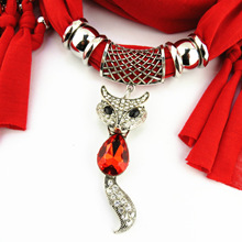 jewelry polyester scarf steel alloy fox pendant ladies shawl foreign trade