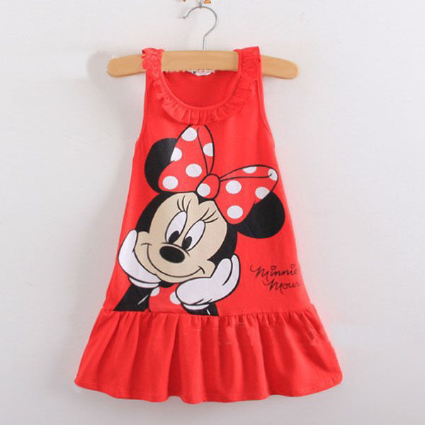 New 2019 Baby Girl Summer Dress Girls Minnie Mouse Pink Red Dress Girl's Casual Fashion Kids Clothing Party Dresses