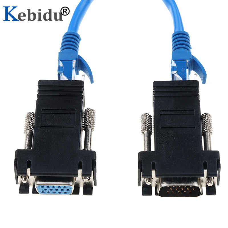 Kebidu RJ45 to VGA Extension Extender Cord Male To Cat6 Cat5e RJ45 Ethernet RJ45 TO VGA Female Adapter for PC Desktop Computer