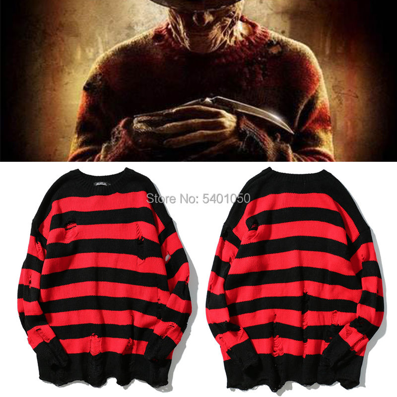 A Nightmare On Elm Street Freddy Cosplay  Costume Sweater Black Red Striped Hole Knit Sweaters