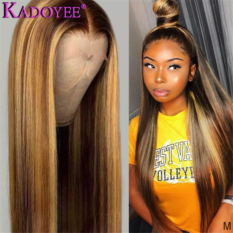 Straight Lace Front Human Hair Wigs Pre Plucked Ombre Honey Blond Highlights Wig Malaysia Remy 13x4 Lace Front Wigs for Women(China)