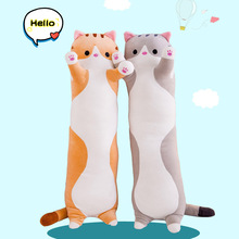 цена на 50/70cm Cute Long Cat Plush Toy Kitten Plush Stuffed Toy Pillow Office Lunch Break Nap Sleeping Pillow Cushion Stuffed Kids Gift