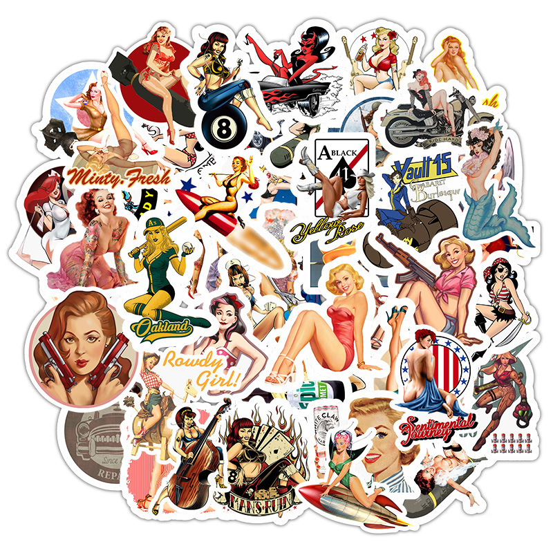 49pcs Europe And America Retro Girl Pin Up Girl Sticker Decoration Stationery Sticker DIY Ablum Diary Scrapbooking Label Sticker