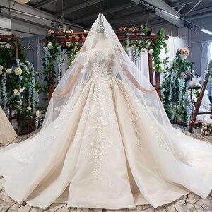 Image 3 - HTL698 luxury wedding dresses with wedding veil beaded boat neck off shoulder handwork lace wedding gowns 2020 encontrar loja