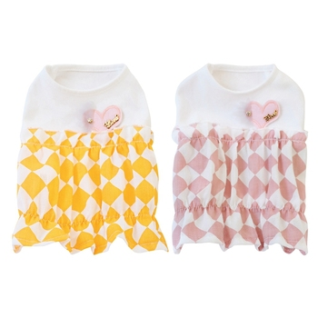 Cute Pet Dog Dresses Pet Spring Summer Cotton Clothes For Dog Girls Small Medium Dog Love Heart Pineapple Skirts image