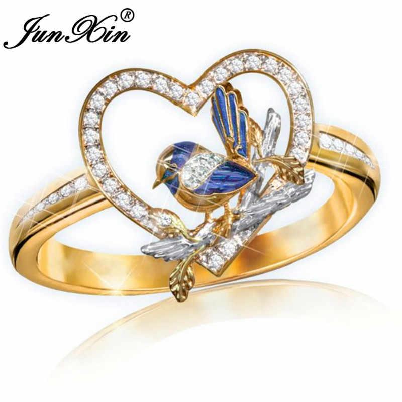 น่ารักสัตว์นกสีเหลืองทองหัวใจแหวนสำหรับงานแต่งงานแถบสีฟ้าคริสตัลหมั้นแหวนเครื่องประดับของขวัญ