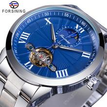 Forsining Blue Fashion Mechanical Watch Male Tourbillon Automatic Moonphase Stainless Steel Analog Watches Reloj hombre Dropship