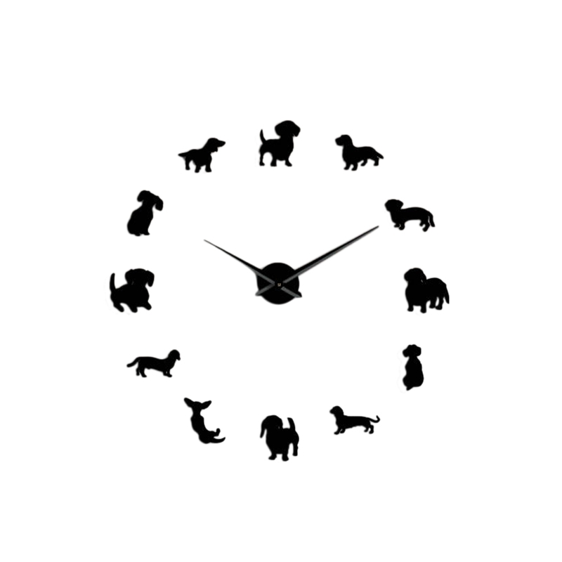 JEYL Diy Dachshund Wall Art Wiener-Dog Puppy Dog Pet Frameless Giant Wall Clock With Mirror Effect Sausage Dog Large Clock Wall