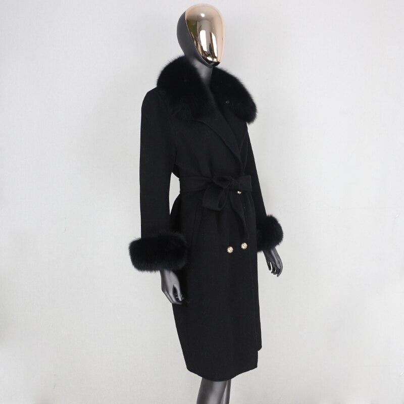 H2c407089160f4756b9cf4d1663caf142Z 2021X-Long Natural Mongolia Sheep Real Fur Coat Autumn Winter Jacket Women Double Breasted Belt Wool Blends Overcoat Streetwea