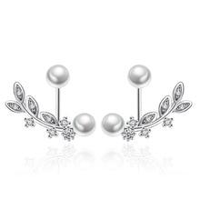 цены Trendy Jewelry Silver Earrings Pearl Earrings Best Gift For Women Charming Lovely Girl Leaf Shape Pearl Dangle Earrings