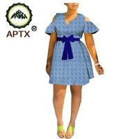 summer african print dress for women APTX tailor made short sleeve knee length women casual wax cotton dress TA20C002W