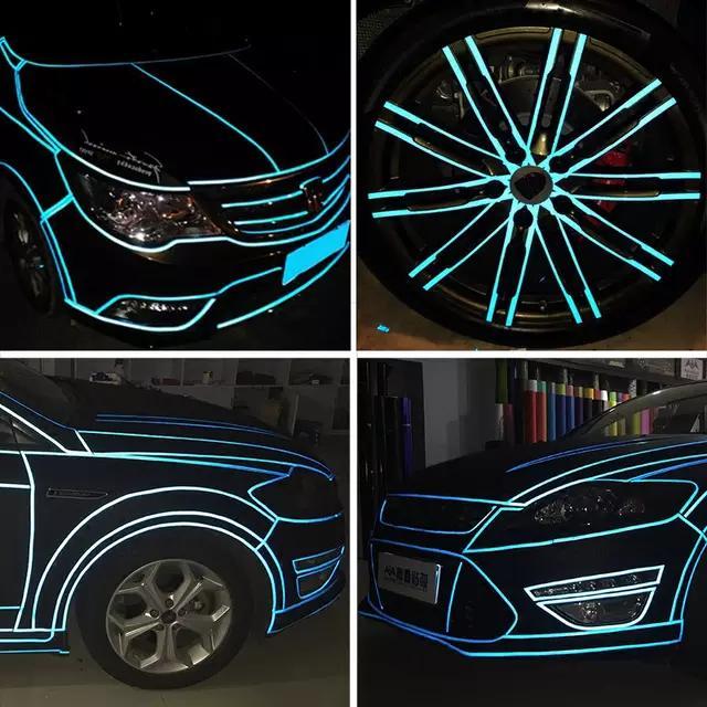 DIY 자동차 빛나는 스티커 반사 테이프 자전거 오토바이 트럭 밤 빛 빛나는 경고 접착제 글로우 종이 자동차 액세서리