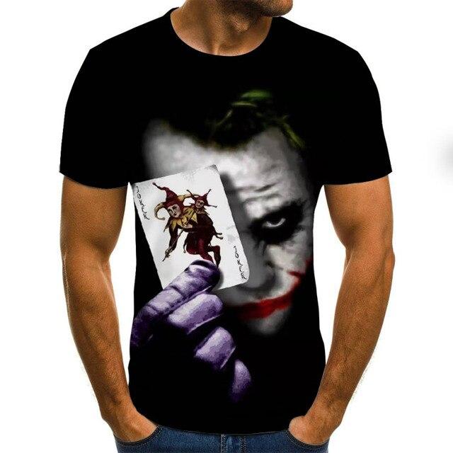 2019 new men t shirt Sketch the clown 3D Printed T Shirt Men Joker Face Casual O-neck Male tshirt Clown Short Sleeved joke tops 1