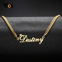Vnox – colliers en acier inoxydable avec nom personnalisé pour homme et femme, bijoux unisexe, cadeaux personnalisés, couleur or