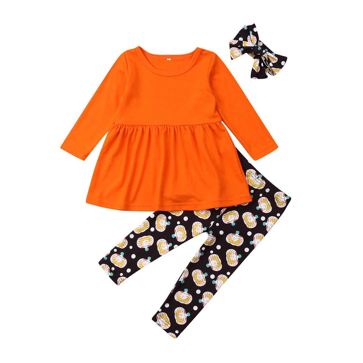 Toddler Baby Girls boys clothes Ghost Dresses Print Pants Punmpkin Headband Halloween Costume Outfits Set roupas infantis menina