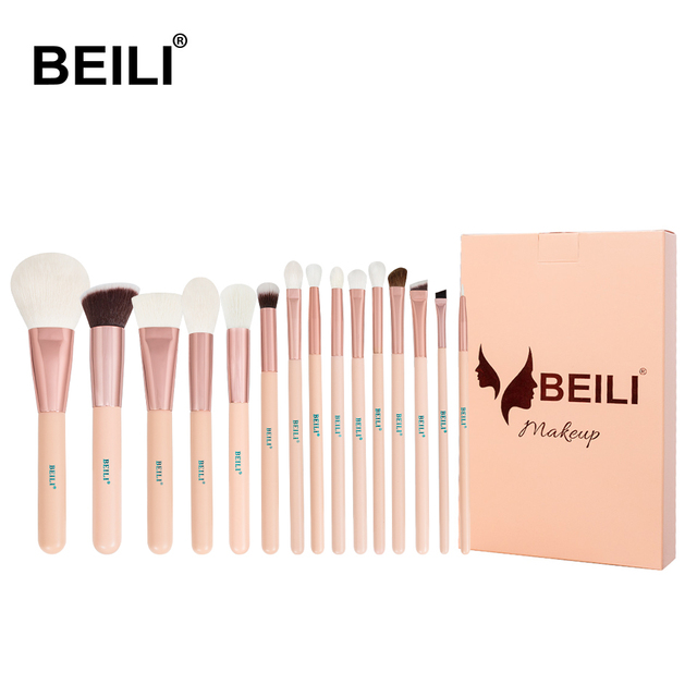 BEILI 15Pcs Pink Rose Gold Makeup brushes Natural goat Pony Hair Foundation blush eye Blending Contour Powder Professional set