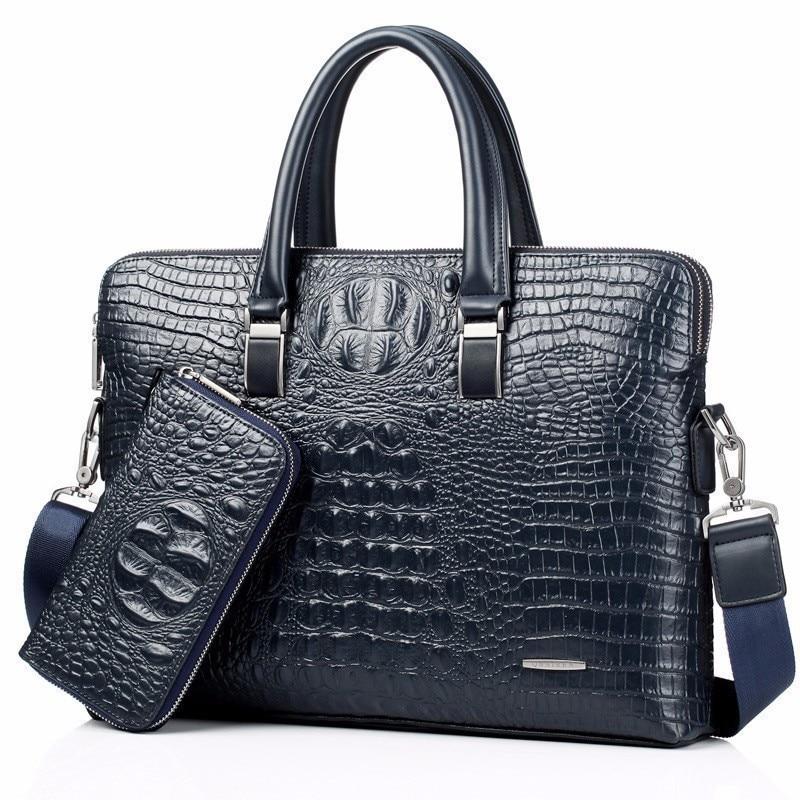 Blue Crocodile Genuine Leather Laptop Bag Male Top-handle Men Messenger Bags Alligator Shoulder Tote Masculina Vintage Briefcase