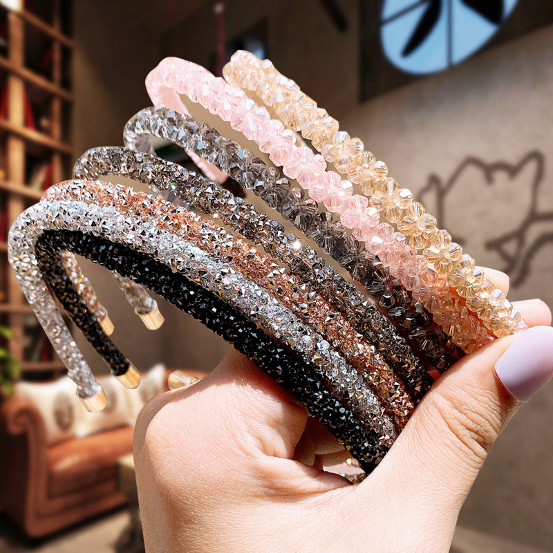1PCS Shiny Luxury Hair Hoop Rhinestone Fashion Headband For Women Girls Solid Color Elastic Headwear 2020 Hair Accessories