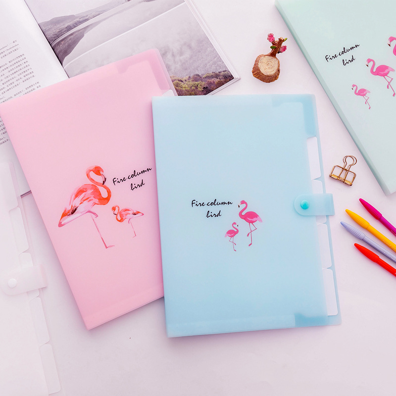 5 Grid Document Bag Flamingo Printed A4 File Folder Candy Color Expanding Wallet Portable Organizer Paper Holder Office Supplies