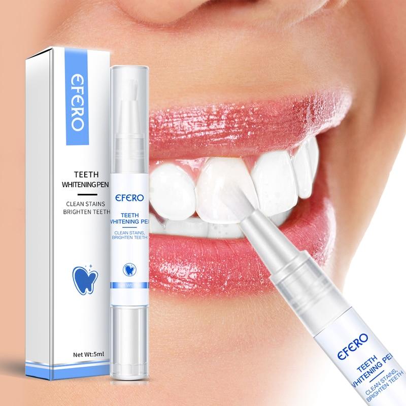 EFERO White Teeth Whitening Pen Tooth Gel Whitener Bleach Remove Plaque Stains Oral Hygiene Teeth Cleaning Serum Dentist Tools