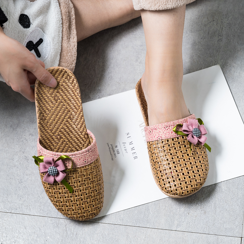Summer  Flax Home Slippers Women  Slapping Beach Flip Flops Non-slip  Family Slippers Indoor